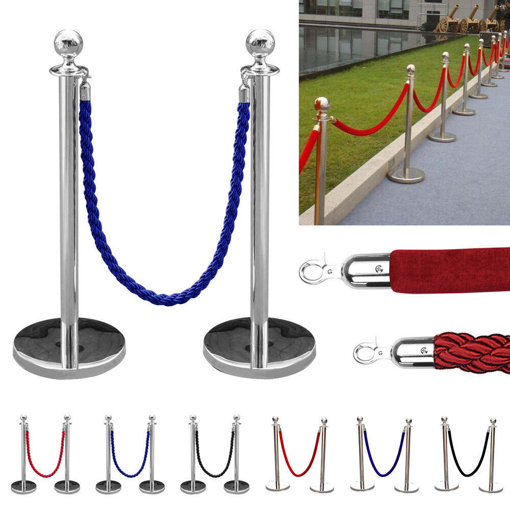 1.5m Twisted Velvet Queue Barrier Rope Red Black For Posts Stands Business Crowd Control Queue Control Barrier Posts Safety Rope