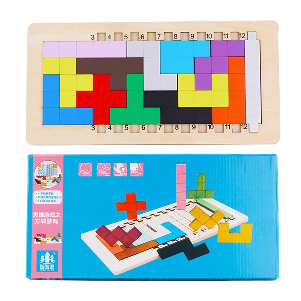 Деревянная головоломка Танграм 3D головоломка игрушки игра магирование интеллектуальная развивающая детская арифметическая игрушка