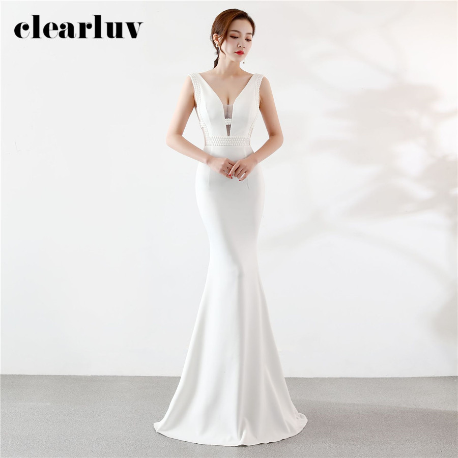 New Evening Dresses Crystal Simple Mermaid Dress DX375 2020 White Plus Size Long Party Gowns Sexy Slim Elegant Formal Prom Gown