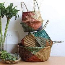 Household Foldable Natural Seagrass Woven Storage Baskets Garden Flower Vase Hanging Basket With Handle Storage Bellied Basket