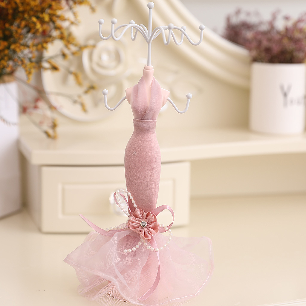 Resin Mannequin Earrings Display Rack Pink Lace Princess Dress Multi Hooks Wedding Engagement Jewelry Display Gift Box Holder