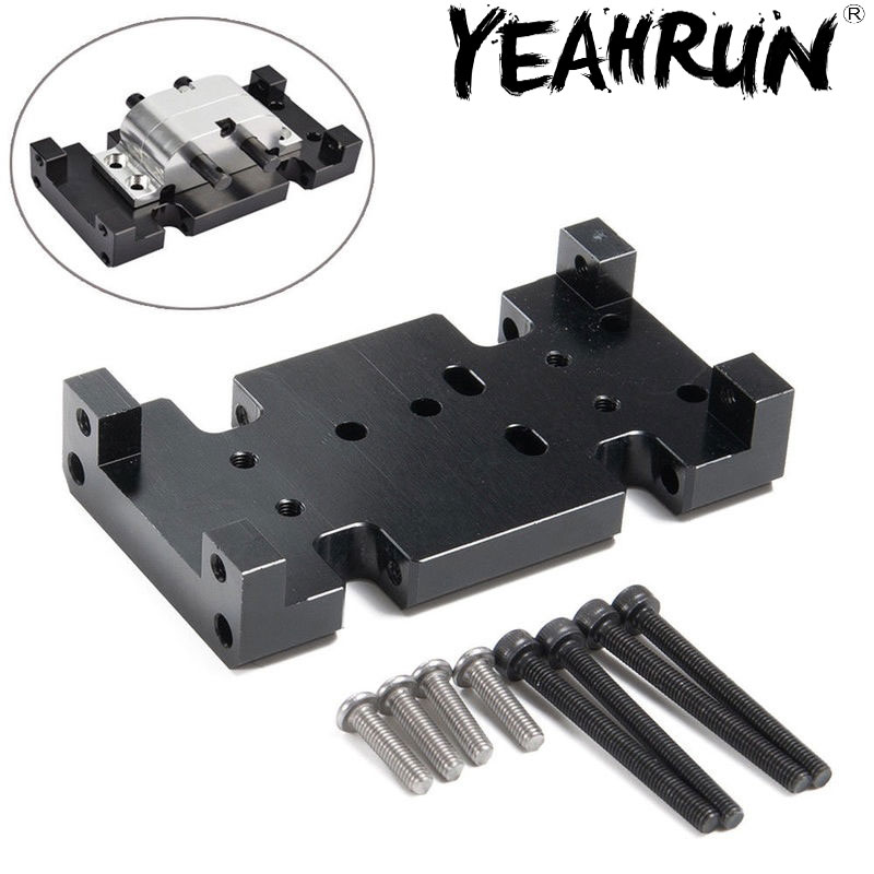 YEAHRUN Black Alloy Metal Transmission Gearbox Skid Plate For 1/10 RC SCX10 D90 D110 TF2
