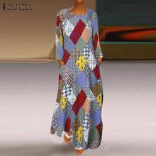 ZANZEA Printed Geometry Dress Women Summer Long Maxi Dresses