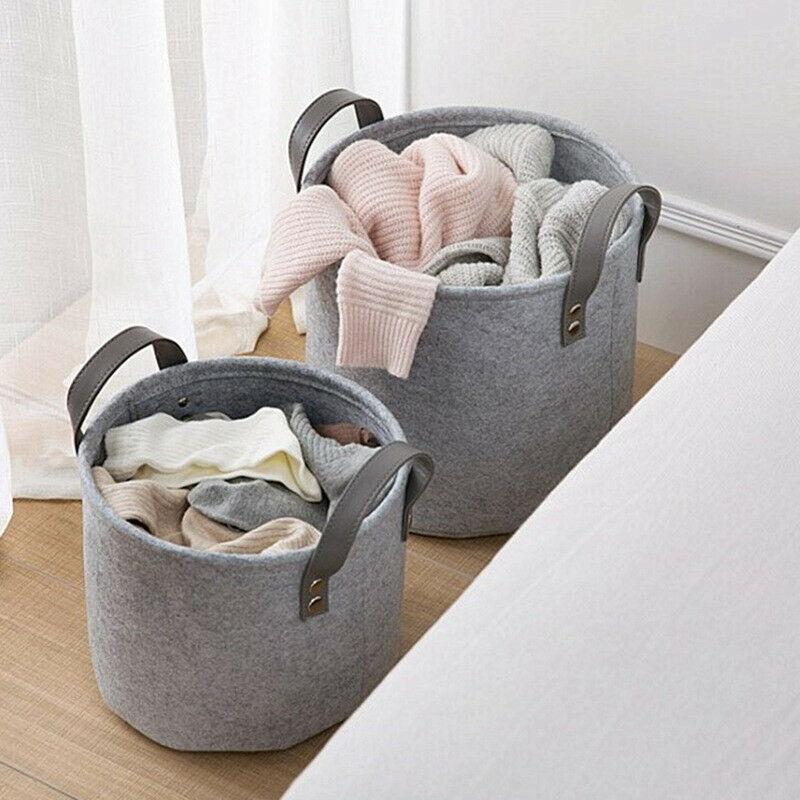 NoEnName-Null 1PC Foldable Large Felt Washing Clothes Laundry Basket Bin Hamper Storage Bags Organizer