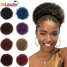 Alileader noir bouclé Chignon Afro Naturel postiche Chignon cordon Afro bouffée queue de cheval Extensions synthétique cheveux Chignon bleu marron