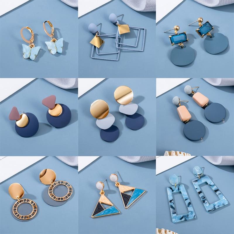 BLINLA 2021 Новинка в Корейском стиле с геометрическим рисунком акриловые серьги для женщин модные богемные круглые серьги в виде капель с вечер...