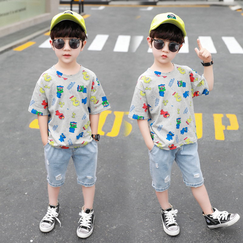 Baby Boys Clothing 2020 Summer Kids Cartoon Tops Tshirt Denim Pants Sport Suit Childrens Short Sleeve T Shirt Jeans Clothes Sets 3