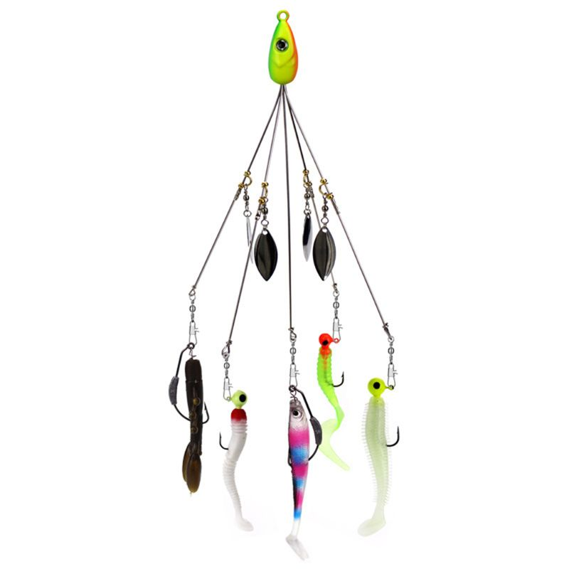 6pc 5 Arms Umbrella Alabama Rig Fishing Lure 9.5g 21cm Stainless Snap Swivel Jig