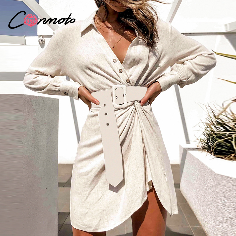 Conmoto Beach Summer 2020 Short Dress Women Sash Long Sleeve Club Dresses Shirt Sexy Casual Robe Femme Dress Vestidos