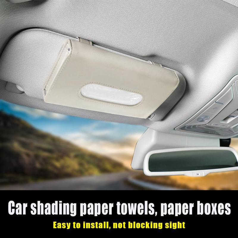 Universal Car Sun Visor Tissue Box Holder PU Leather Tissue Box Cover Case For Paper Napkin Auto Styling Organizer Accessories