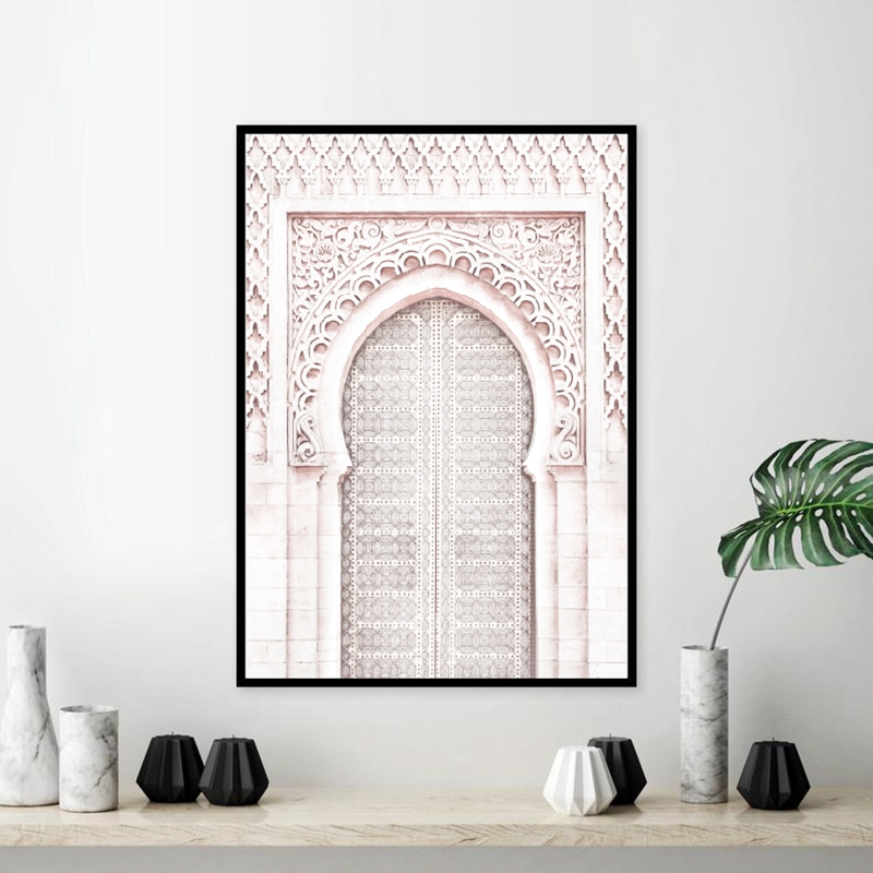 Pink Moroccan Arch Travel Wall Art Canvas Painting Poster Ancient Gate Morocco Door Artwork Pictures Prints Home Wall Art Decor