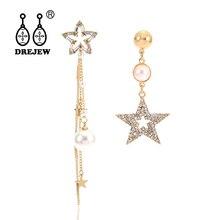DREJEW Asymmetrical Star Pearl Rhinestone Statement Earrings Gold Silver Alloy 925 Drop for Women Fashion Jewelry HE695