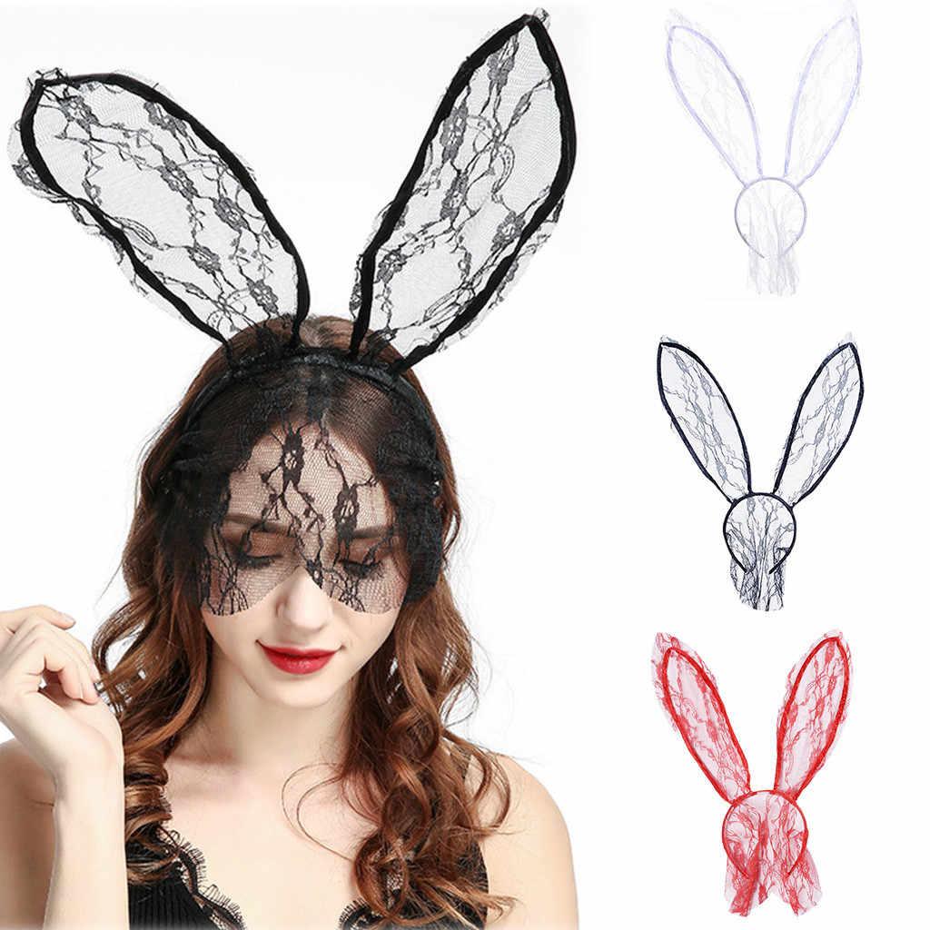แฟชั่นผู้หญิงสาว Hairbands ลูกไม้กระต่ายกระต่ายกระต่ายกระต่ายกระต่ายกระต่ายกระต่ายกระต่ายกระต่ายหู Veil สีดำหน้ากากฮาโลวีน Party Headwear อุปกรณ์เสริมผม