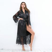 Ver através de roupa de dormir longo vestido de noite de renda sexy lingerie malha transparente robe quente erótico roupa interior feminina roupa de noite