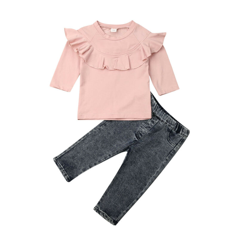 Maximum supplier US STOCK Kid Newborn Baby Girl Cotton long Sleeve Denim Trousers Winter Clothes(China)