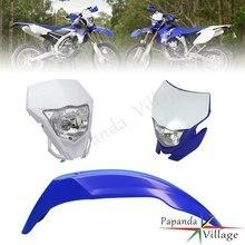 Faro de Enduro y guardabarros delantero para Motocross, luz delantera para Yamaha WR YZ YZ125 YZ85 WR250 WR450 TTR230 SUZUKI, color azul y blanco