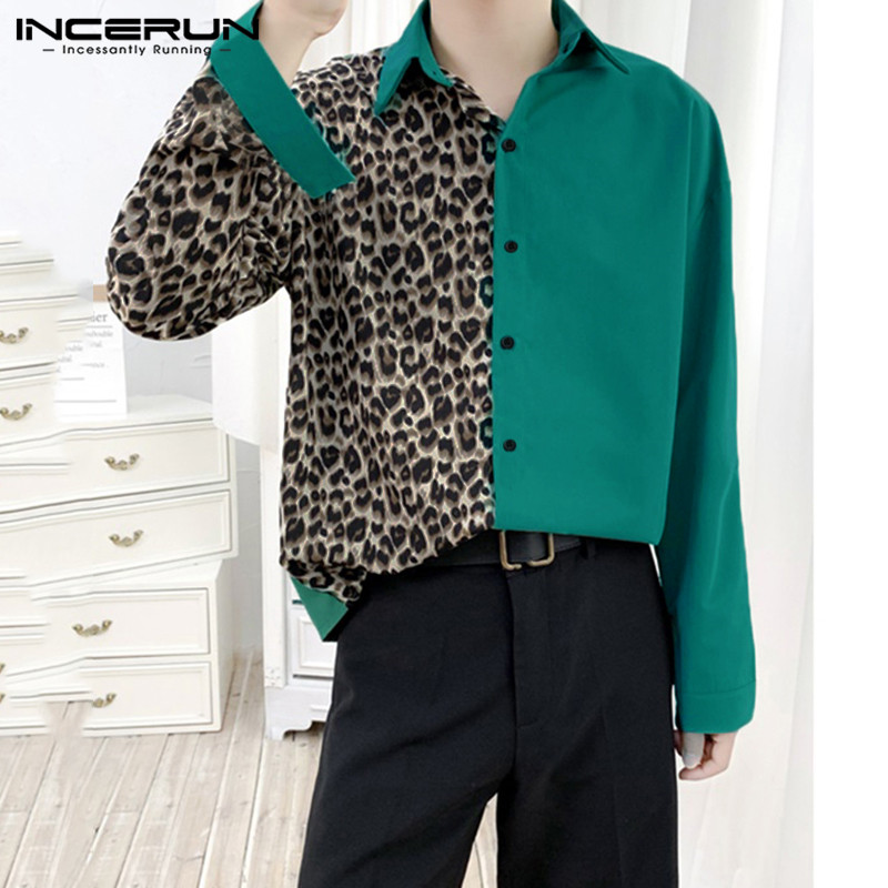 INCERUN Leopard Patchwork Shirt Men Lapel Long Sleeve Personality Tops 2020 Fashion Streetwear Brand Shirts Men Button Chemise