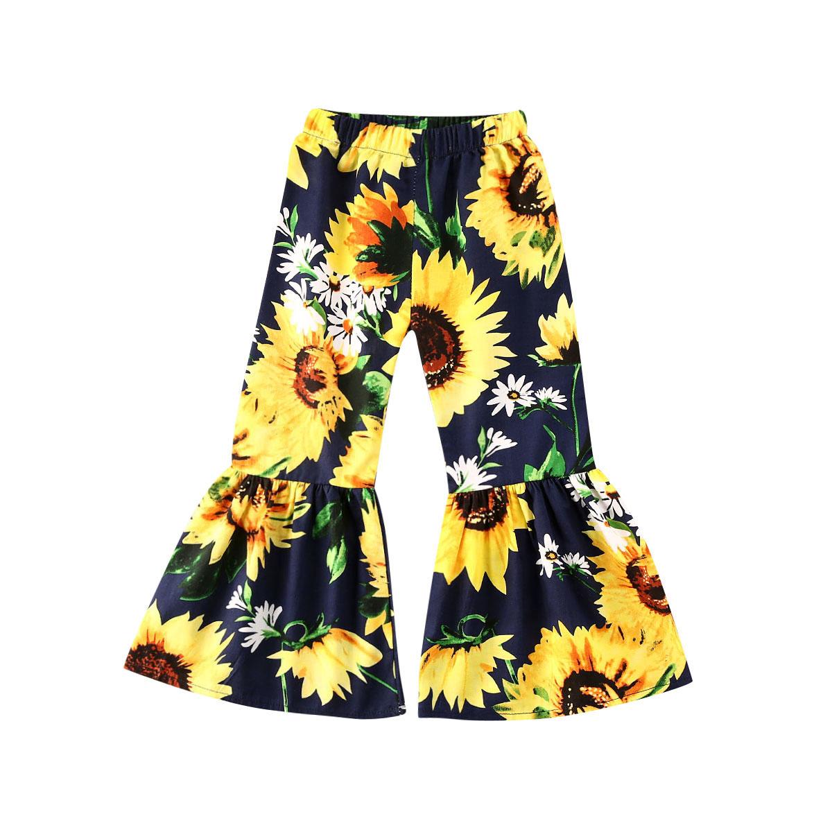 Pantalones Acampanados Para Ninas De 1 A 6 Anos Pantalones Holgados Con Volantes Estampado De Girasoles Ropa De Verano Para Ninos Pantalones Aliexpress