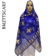 新アフリカのイスラム教徒の女性ネットスカーフネットマッチ綿刺繍ビーズショールパシュミナ BM916