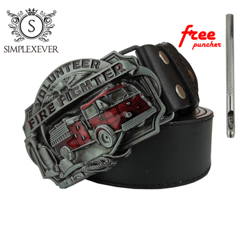 Pu Belts with Fire Fighter Metal Belt Buckle, Mens Belt Buckle Head with Leather Belt Free Puncher pu timing belt coated with apl two types