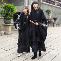 Japanese Dragon Embroidery Women Kimono Dress Men Samurai Costume Cosplay Cardigan Yukata Traditional Cosplay Party Halloween