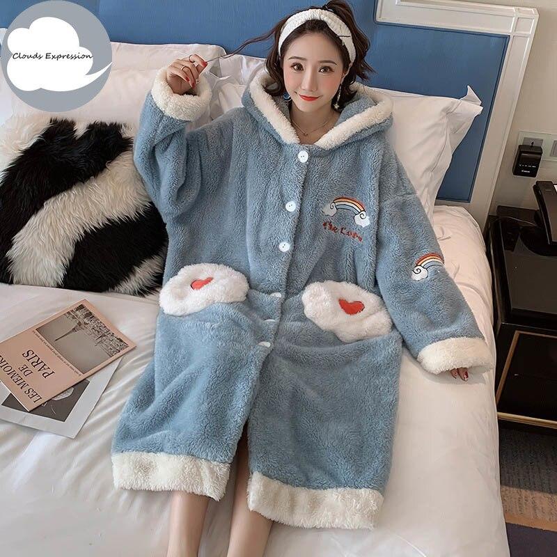 Новая зимняя женская пижама с капюшоном и длинными рукавами, бархатная Свободная Женская пижама с рисунком облаков, домашняя одежда