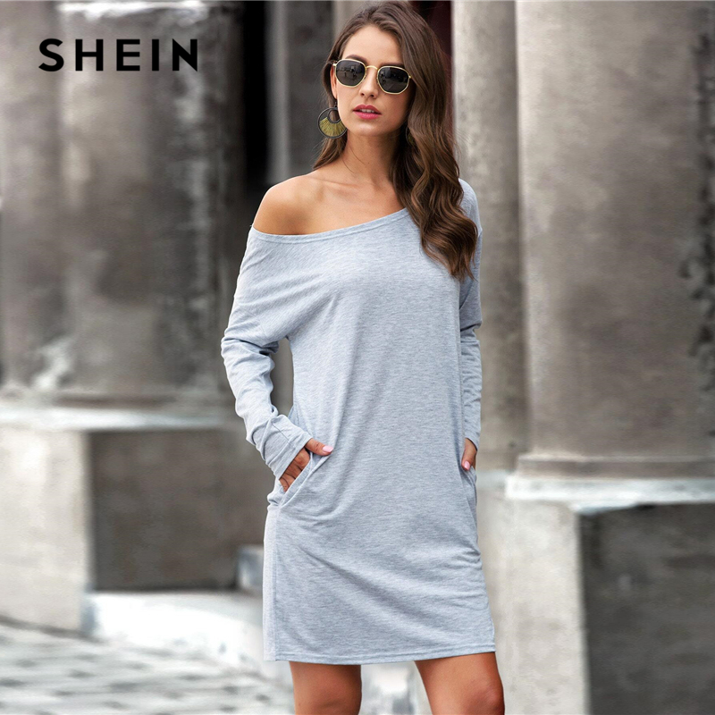 SHEIN Grey Boat Neck Slant Pocket Tee Dress Women Spring Summer Long Sleeve Solid Cozy Casual Straight Short Dresses