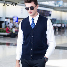 UCAK Brand Sweater Vest Men Solid V-Neck Pure Merion Wool Pull Homme Casual Warm 2019 Winter Fashion Trend Buttons Vests U3099