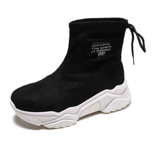 Image 2 - SWYIVY צאן פלטפורמת מגפי גבירותיי נעלי טריז אישה 2019 חדש סתיו מקרית קרסול מגפי נעלי נשים להחליק על נעליים שחורות