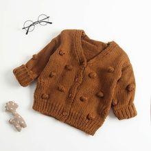 Осенне-зимняя одежда для маленьких девочек 0-24 месяцев, трикотажный пуховый свитер, пальто, верхняя одежда, кардиган
