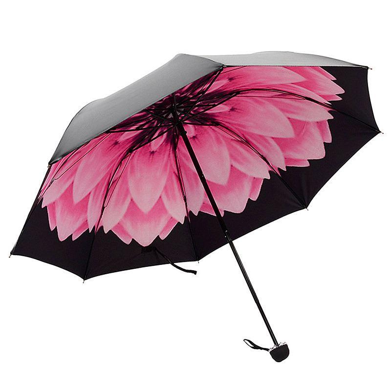 Umbrella Rain Woman Three folding 3D Flower Print Sunny and Rainy Umbrella Parasol Umbrellas    - AliExpress
