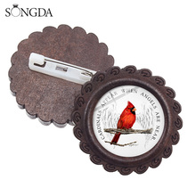 SONGDA Cardinals Parrot Wood Brooches Red Bird Cardinal Appear When Angels Are Near Bible Verse Quote Metal Pins Badge Best Gift