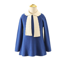 Autumn Knitting Dress for Girls Casual Fashion Korean Contrast Color Kids Dresses Princess