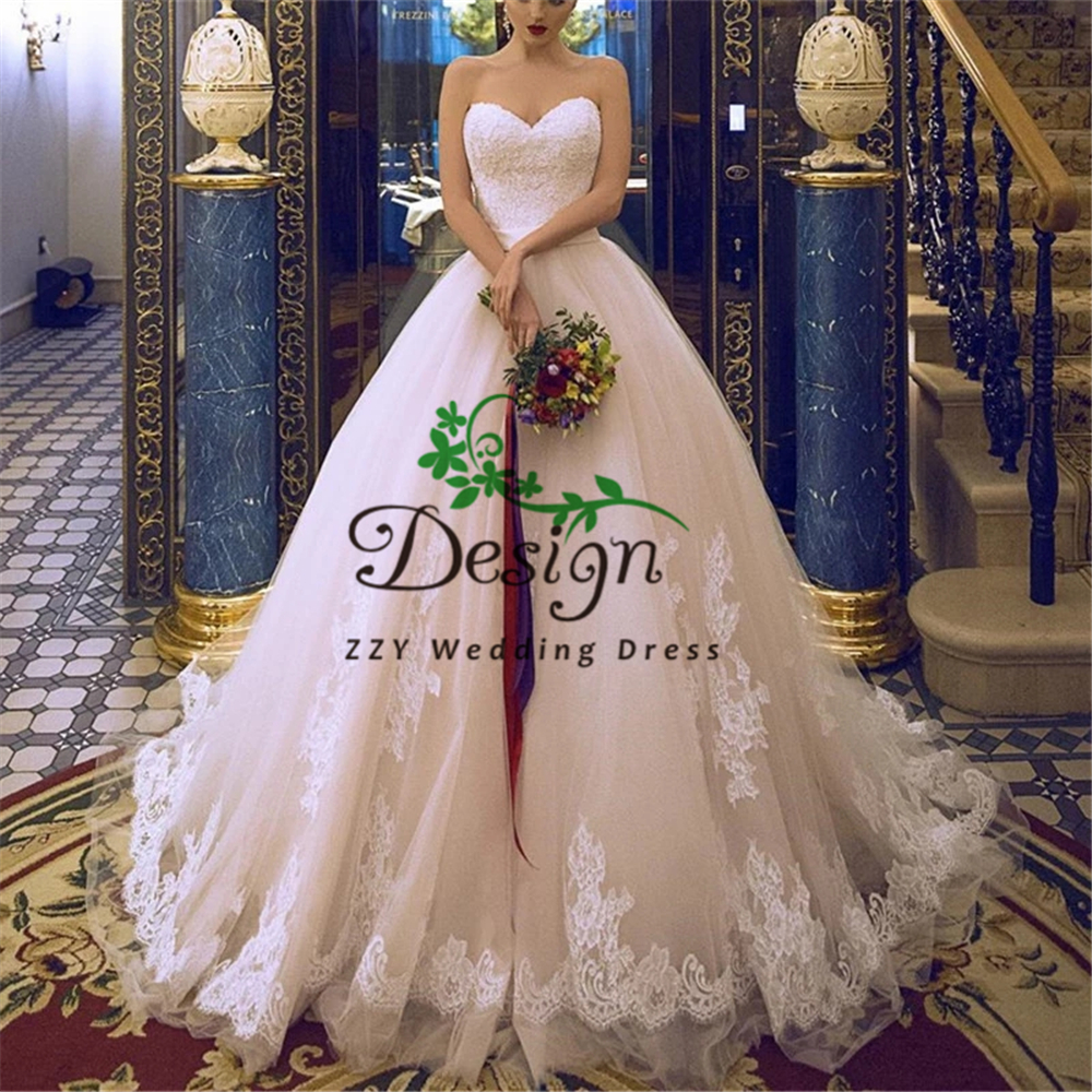 Atractive Backless Ivory Lace-Up Sweetheart Neckline Sash Appliques Beading Bride Dress For Wedding Perfect Wedding Gown