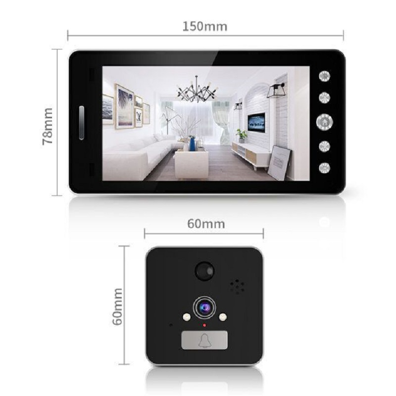 Saful 5 ''Wifi porte judas visionneuse porte caméra 120 degrés avec détection de mouvement Vision nocturne sonnette de maison intelligente - 2