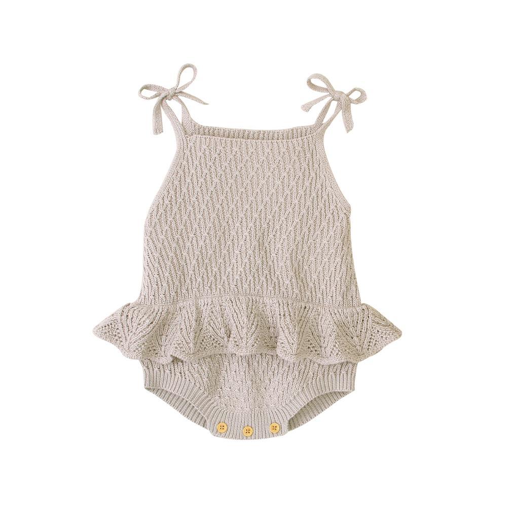 Детское боди, милая Одежда для новорожденных, одежда, топы, Модный летний комбинезон для детей ясельного возраста, однотонный вязаный детск...