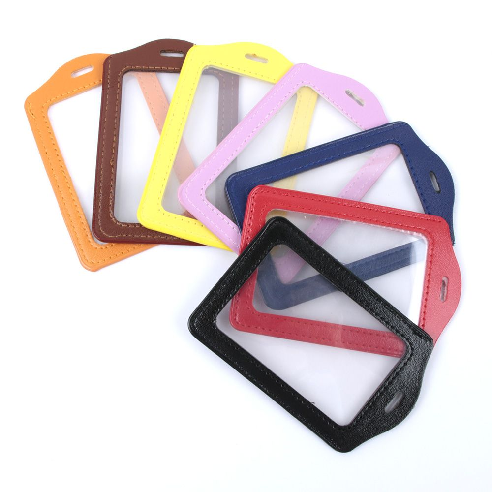 1Pcs ID Card PU Leather Card Holders Badge Case Clear With Color Border And Lanyard Holes Protective Cover Business Card Holder
