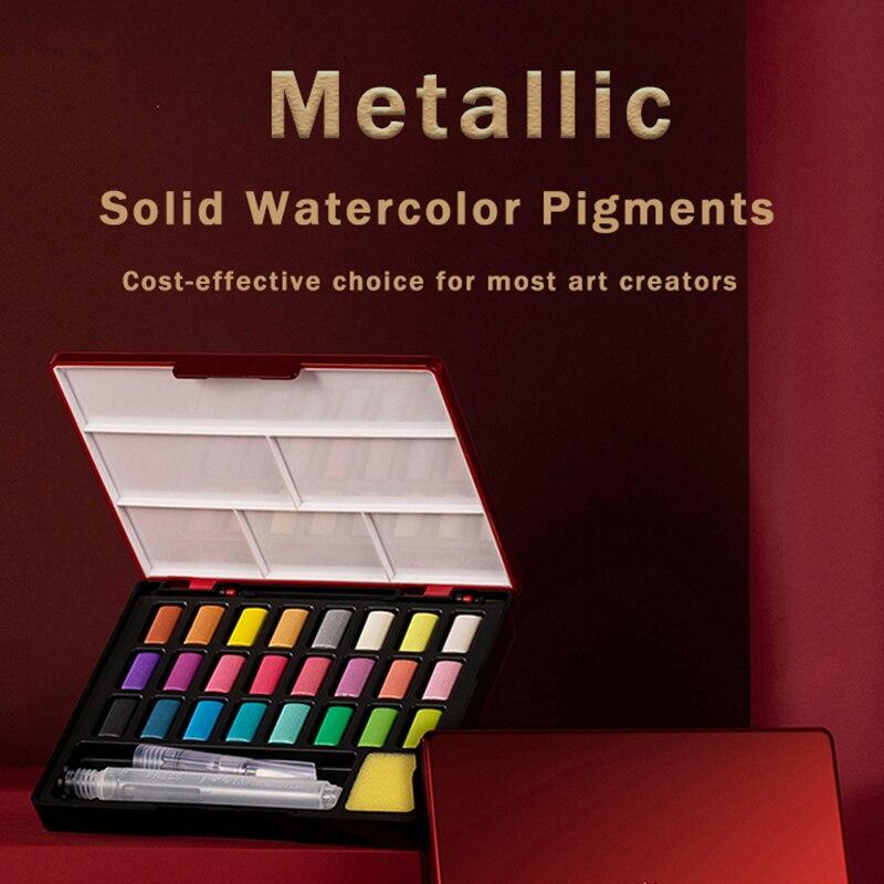 Профессиональные однотонные акварельные краски FABER CASTELL, 24 цвета, с кисточкой, перламутровые цвета металлик, однотонный акварельный пигмент