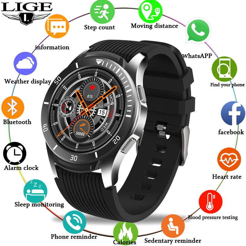 LIGE Fashion Smart Watch Men LED Full Touch Screen Multifunctional Sports Smart Watch For Android Ios Waterproof Fitness Tracker