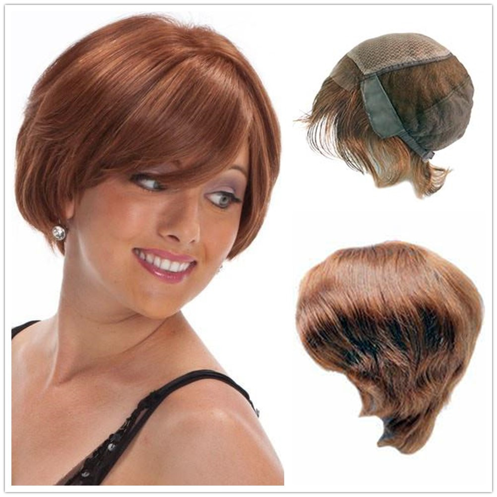 Hstonir Jewish Kosher Wigs European Remy Hair French Lace In Front With Weft Back For Women G016