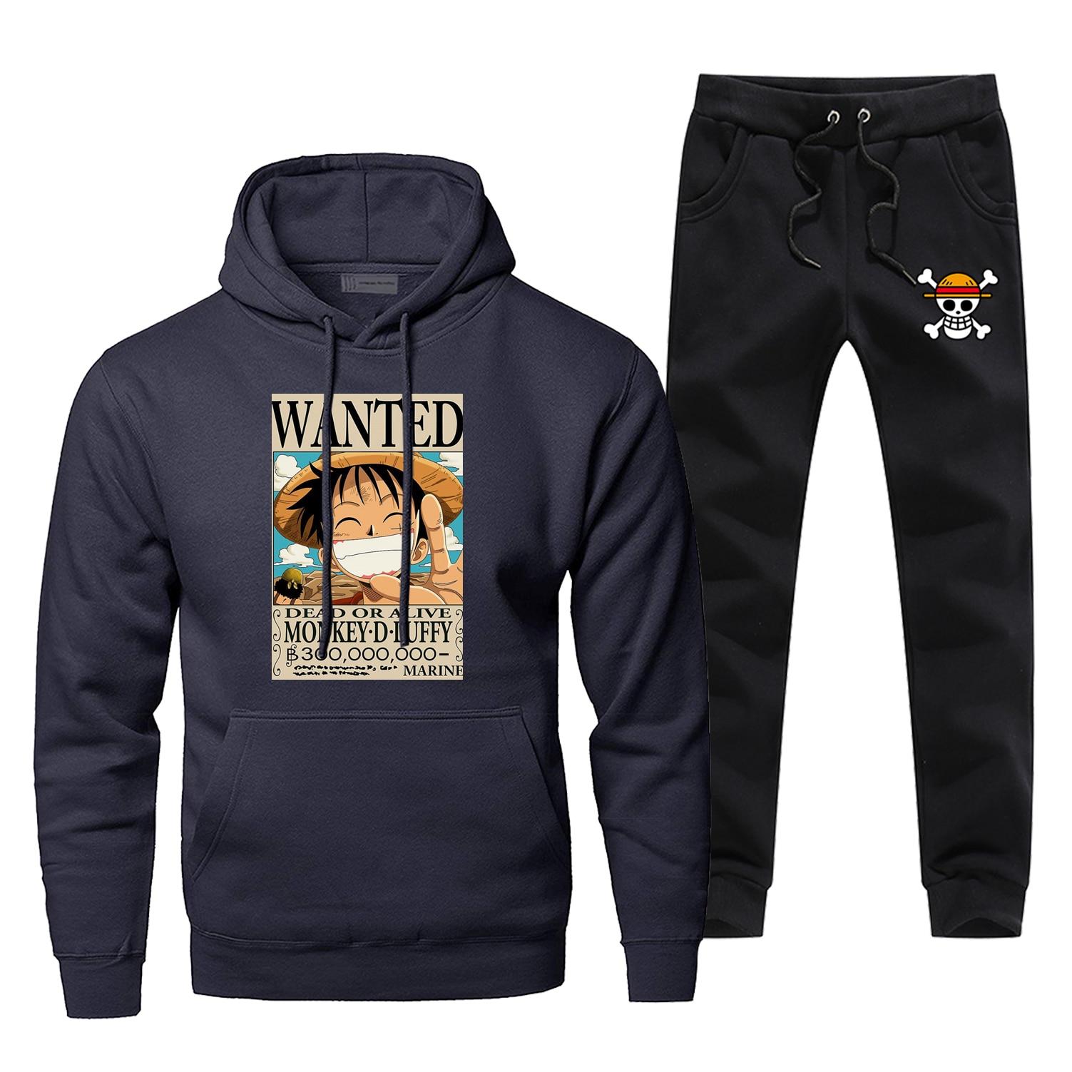 Japanese Anime One Piece Hoodies DEAD OR ALIVE Print Sweatshirt Luffy Wanted Hoodie+pants Sets Men Fleece Sportswear Sweatpants