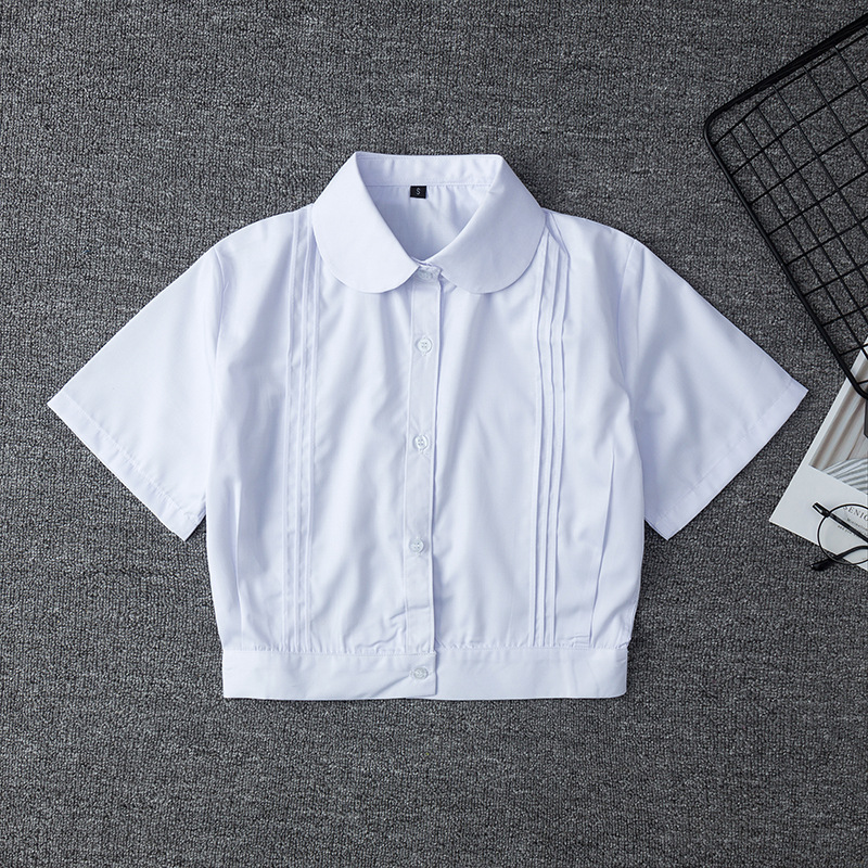Japanese School Uniform For Girls Short Sleeve White Shirt School Dress Jk Sailor Suit Tops Business Work Uniforms For Women