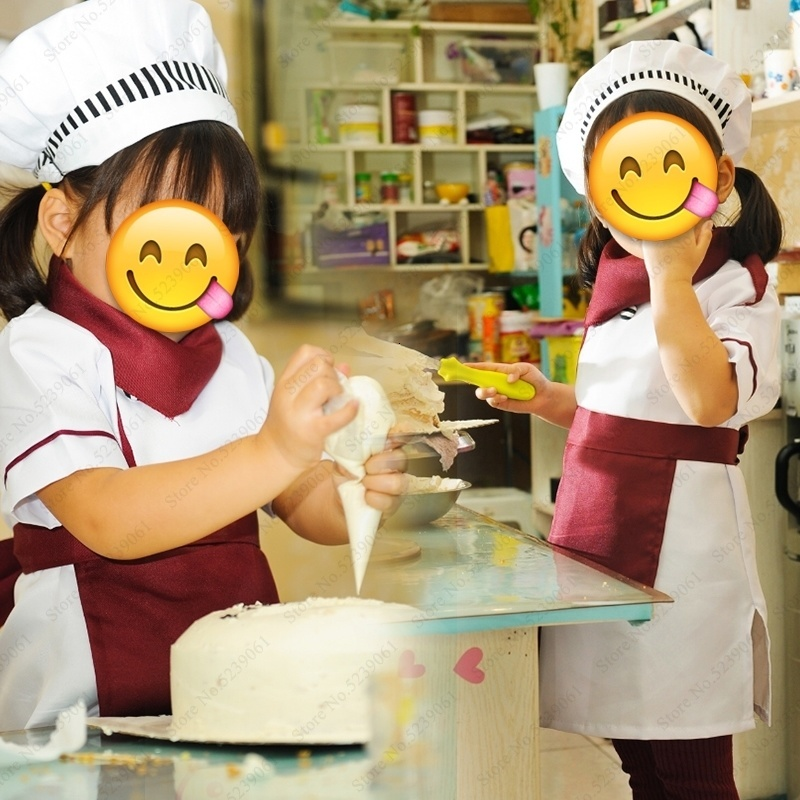 Halloween Kids Chef Jackets Catering Baking Uniforms Food Service Children Kitchen Restaurant Waiter Cook Hat Role Play Costumes