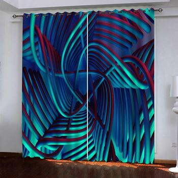 Luxury Blackout 3D Curtains For Living room Bedding room Office stereoscopic lines curtains Thickened blackout curtains