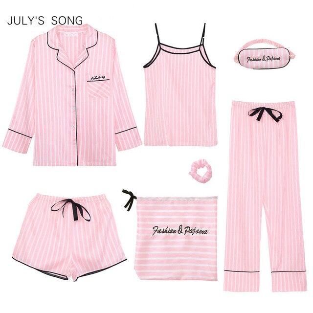 JULY'S SONG Pink 7 Pieces Women's Pajamas Sets Faux Silk Striped Pyjama Women's Pajamas Sleepwear Sets Spring Summer Homewear 1