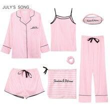 Julysong s song rosa 7 peças pijamas femininos conjuntos de pijamas de seda do falso listrado pijamas femininos conjuntos de pijamas primavera verão homewear
