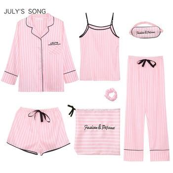 JULY S SONG Pink Women s Pieces Pajamas Sets Faux Silk Striped Pyjama Women Sleepwear
