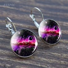 Full Moon Earring Nebula Hook Solar System Glass Cabochon Galaxy Space Astronomy Planet Silver Gift