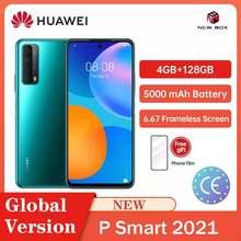 Huawei p smart 2021 4gb 128gb 48mp quad câmera 5000 mah bateria 6.67 tela frameless carregamento rápido do celular celular