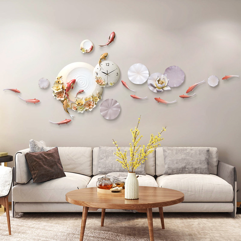 Luxury Emboss Wall Clocks Decoration Crafts Hotel Home Livingroom Sofa TV Background Wall Resin Flower Fish Mural Ornaments Art